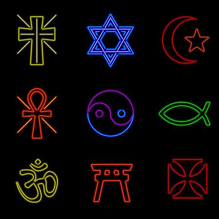 neon religious symbols Stock Vector - 15073611