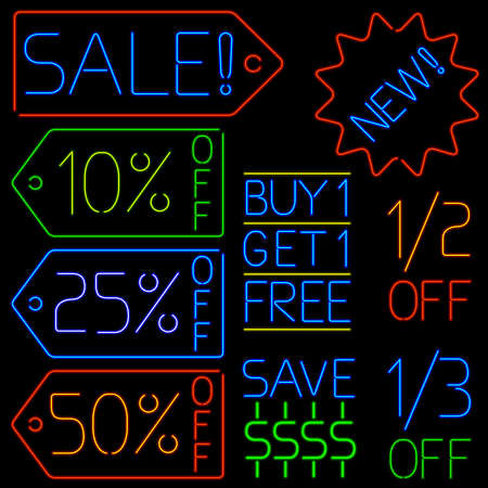 Neon sales signs Vector
