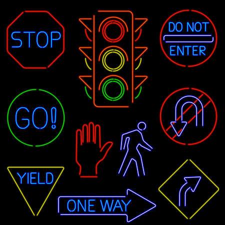 네온 교통 표지판