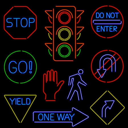 Neon Traffic Signs Stock Vector - 15308521