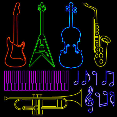 Neon Music Signs Vector