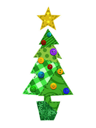 patchwork pattern: Fabric Christmas Tree Illustration