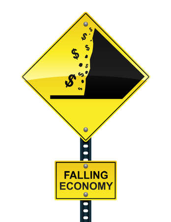 falling money: Falling economy road sign