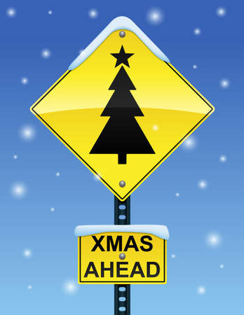 Xmas Ahead Sign Vector
