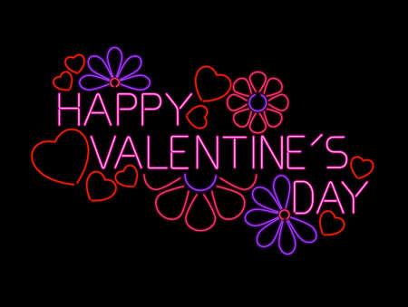 valentine s day: Neon Valentine sign Illustration
