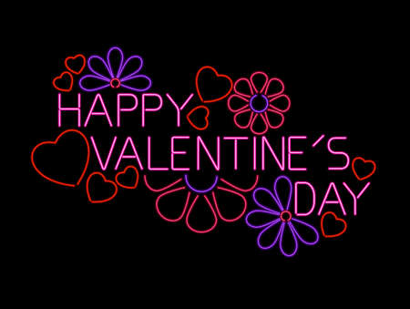 happy valentine s day: Neon Valentine sign Illustration