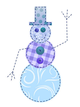 Fabric Snowman Иллюстрация