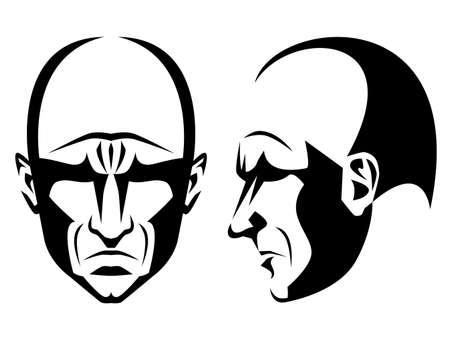 male face profile: Grim Man Illustration