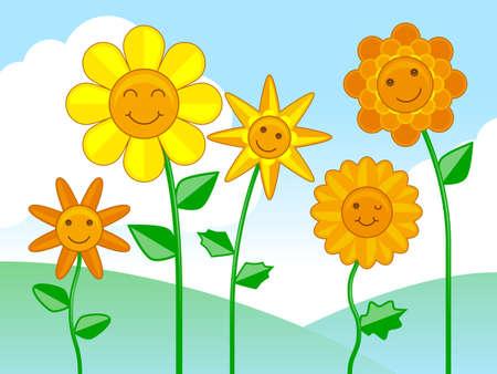 Happy Flowers Иллюстрация