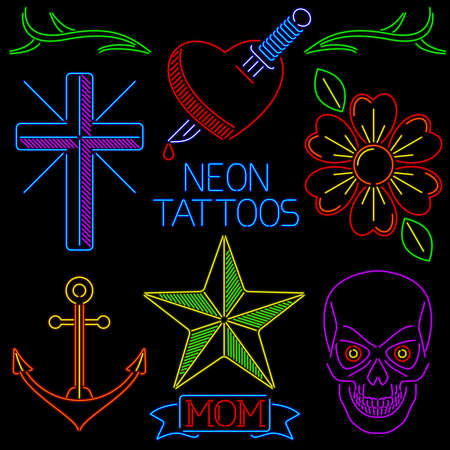 Neon Tattoos Stock Vector - 18286729