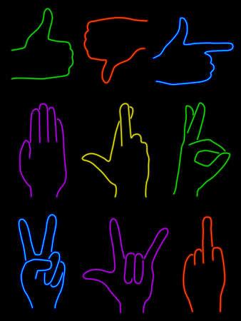 Neon Handen Stock Illustratie
