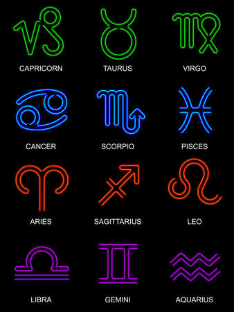 Neon zodiac signs Vector