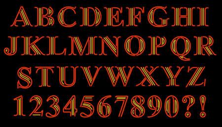 Neon Serif Alphabet Ilustração
