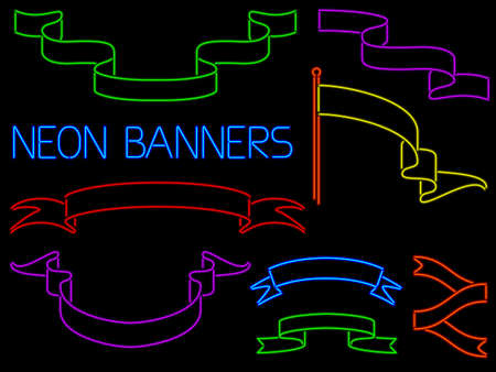 Set of banners and flags rendered in neon style Vector