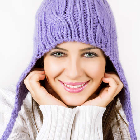 close knit: Beautiful young woman ready for winter