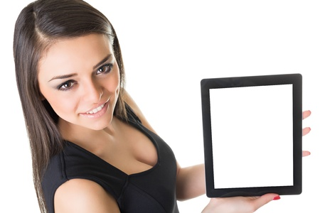 Beautiful businesswoman with tablet computer photo