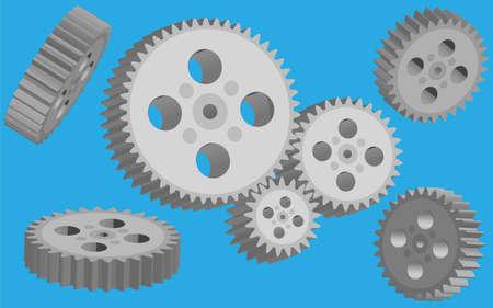 3 d illustrations: set of gears