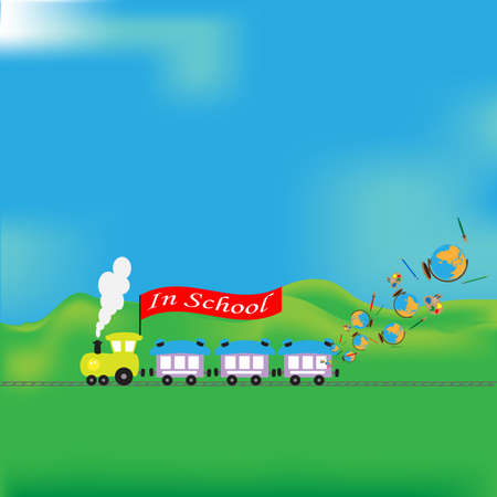d�coller: Yellow engine with a banner in school, from a window pencils, brush globes take off