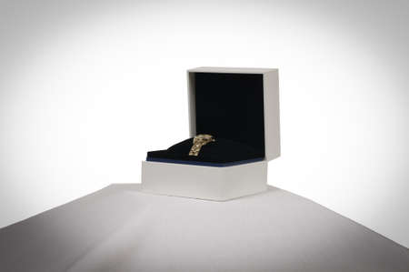 Gold Watch in its box Stock Photo