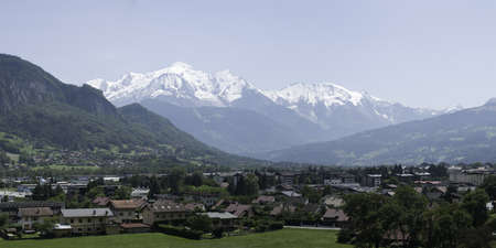Diaporama of the Mont Blanc - View from Sallanches in France Stock Photo
