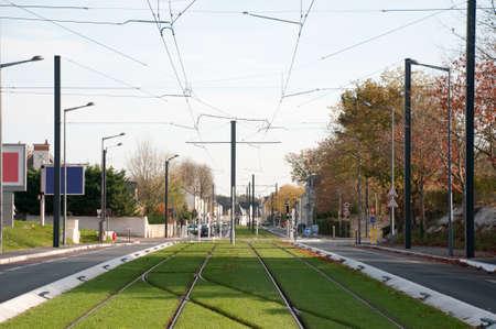 Street, grass and Tramway rail photo
