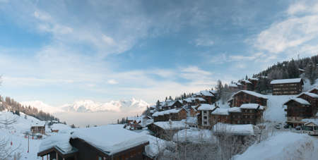 Morning Panorama from La Plagne 1800 (France) and the Mont-Blanc Mountains in background