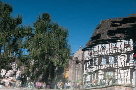 Colors, house and people reflections of Strasbourg  France  Stock Photo