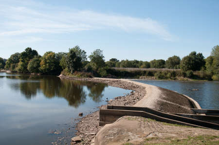 dried up: Dried up river dam in France