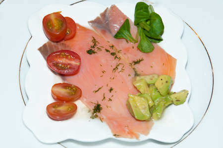 Plate of Salmon, Tomato and Salad