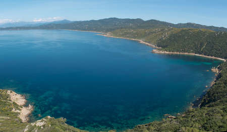 Turquoise sea of the Gurf of Ajaccio, Corsica, France Stock Photo