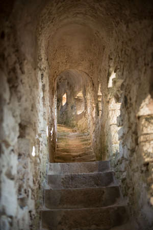 Stairway into the Rampart - Old Town of Bonifacio, Corsica France Stock Photo