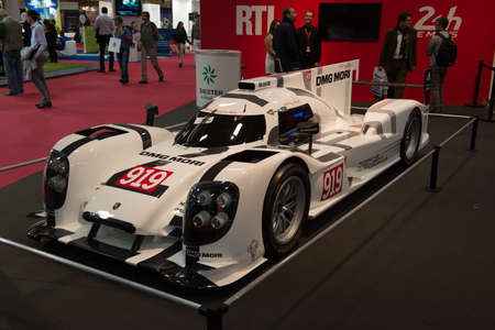 PARIS, FRANCE - October 9 : The 2014 Paris Motor Show on October 9, 2014 in Paris.  Porsche DMG Mori 919 Editorial