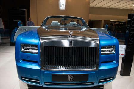 PARIS, FRANCE - October 9 : The 2014 Paris Motor Show on October 9, 2014 in Paris. Rolls Royce Phantom Drophead Coup� Editorial