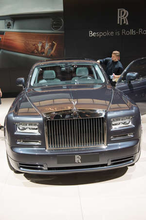 PARIS, FRANCE - October 9 : The 2014 Paris Motor Show on October 9, 2014 in Paris. Rolls Royce Phantom Extended Wheelbase #2