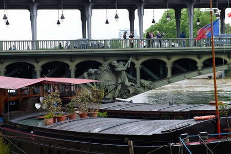 PARIS, FRANCE - JUNE 4: Paris flood with high water on June 4, 2016 in Paris, France Editorial