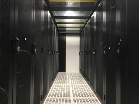 Datacenter : Row of servers racks. Cold Aisle #2