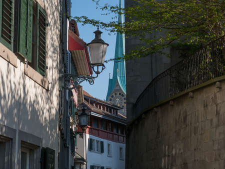 Zurich street view of old town at summer Stock fotó