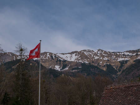 Beautiful Swiss Landscapes with Flag Snow Alps