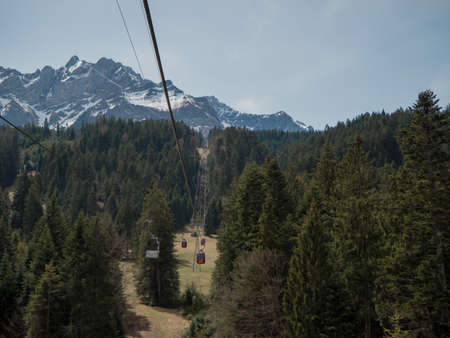 Beautiful Swiss Landscapes with Snow Alps funicular railway Stock fotó