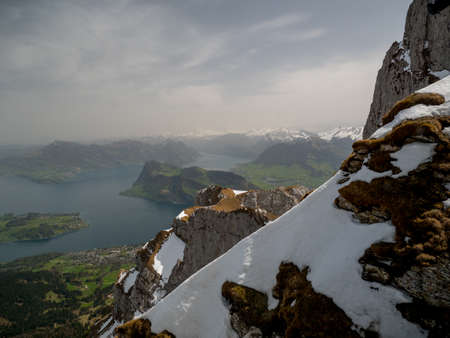 Scenic view of Swiss Alps with snow on top