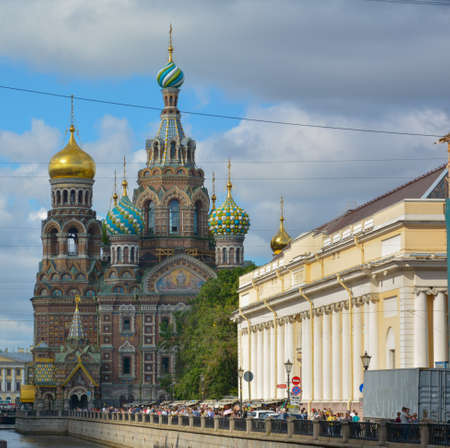 Famous church of the Savior on Spilled Blood in Saint Petersburg, Russia 스톡 콘텐츠