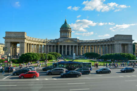 The famous Kazansky Cathedral in Petersburg Russia 스톡 콘텐츠