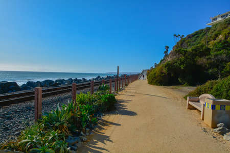 Scenic San Clemente Ocean side close to pier and rails pacific surfliner