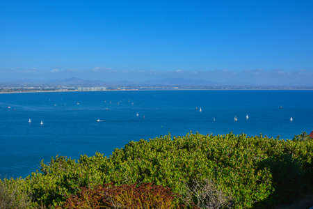 High Panorama View Bayside at Cabrillo Monument in San Diego 스톡 콘텐츠