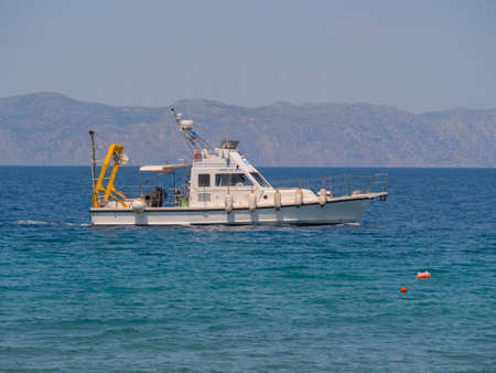 15 may 2019 Rhodes Island Greece Hellenic center for marine research boat 에디토리얼