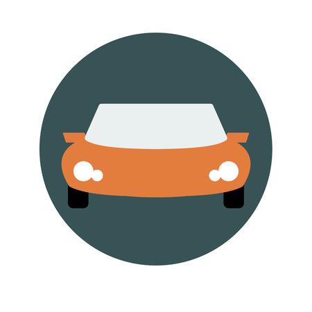 autosport: Vector sports Orange car front view illustration