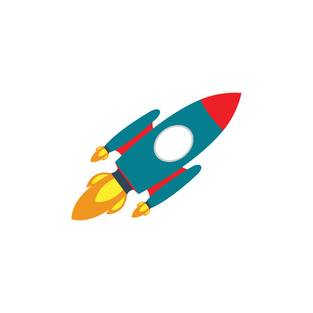 Vector Rocket Icon, Rocket ship in a flat style, Project start up Illustration