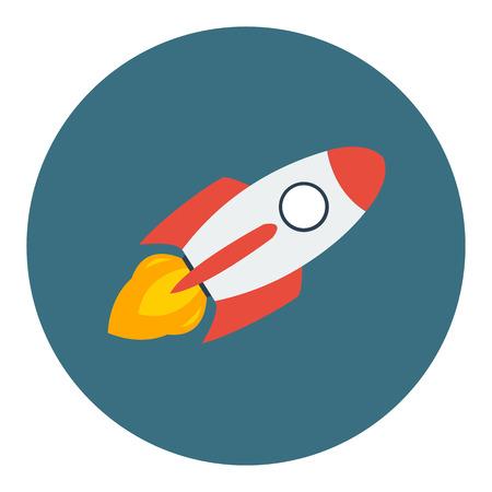 Rocket ship in a flat style.