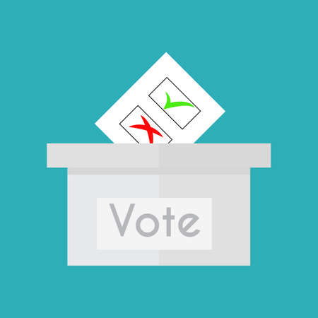 voter: Ballot box or vote box. Flat style