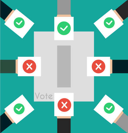 casting: Vector illustration voting concept - hand putting voting paper in the ballot box. Hand casting a vote. Vote ballot in hand with box in flat style. Infographics concept vote pros and cons. Illustration